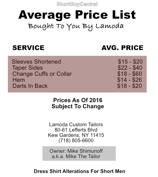 Fashion For Short Men: Dress Shirt Alteration Price List | ShortGuyCentral